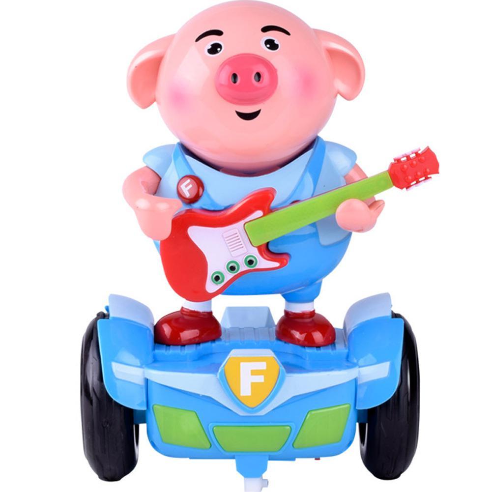 Electronic Cartoon Pig Car Music Seaweed Pig Animal Balance Hand Car Toy