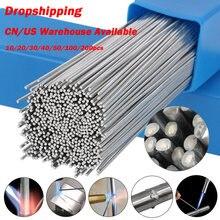 10/20/30/40/50/100 pces nenhuma necessidade de solda em pó haste de solda de alumínio 1.6/2mm brasagem de baixa temperatura de solda de alumínio haste de solda