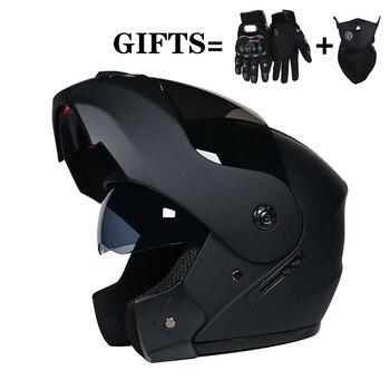 2 Gifts Unisex Racing Motocross Helmets Modular Dual Lens Carbon Motorcycle Helmet Full Face Safe Helmet FlipUp Cascos Para Moto цена 2017