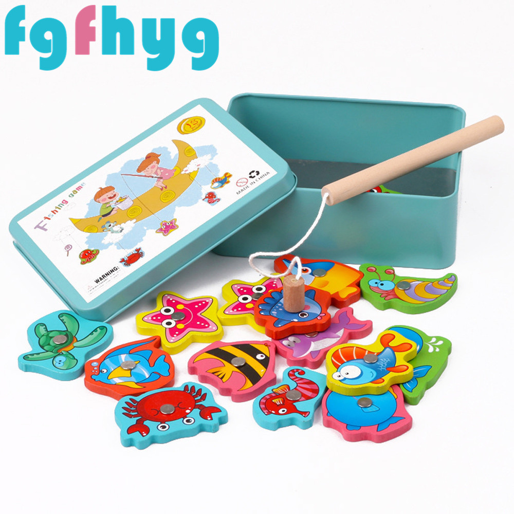 Kids Toys Educational Toys 2019Top Hot 15Pcs Fish Wooden Magnetic Fishing Toy Set Fish Game Educational Fishing Toy Giocattoli