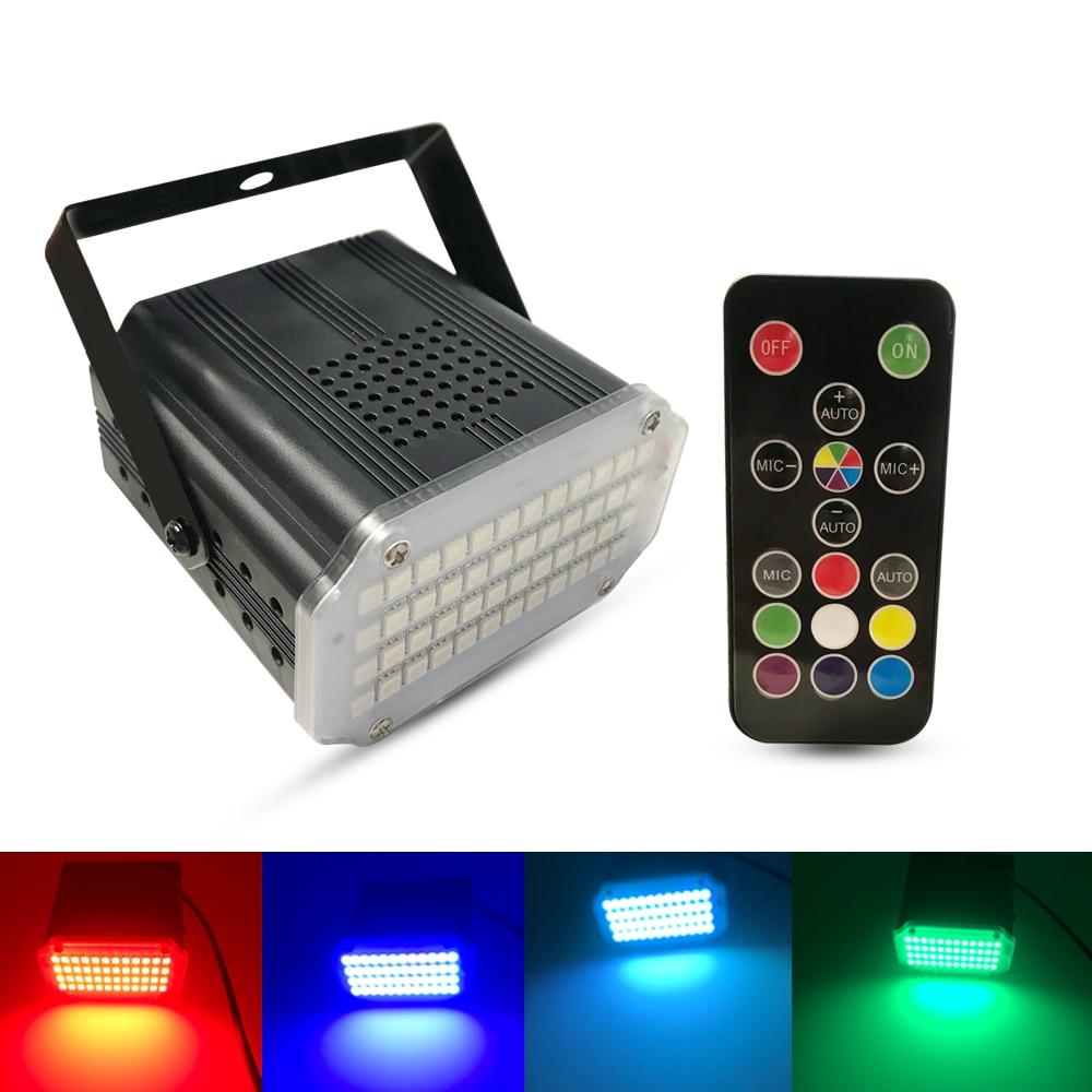 Strobe flash luz 48 leds portátil 12 w rgb controle de som remoto velocidade estroboscópica ajustável para palco discoteca bar party club|Efeito de Iluminação de palco| |  - title=