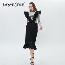 Ruffle Skirt Clothing TWOTWINSTYLE Female Elegant High-Waist Fashion Women Casual Solid