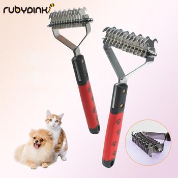 Do włosów dla zwierząt domowych knot cutter kot pies do usuwania włosów pielęgnacja urody narzędzia obroża dla kociaka pieska kąpieli owłosione puszyste narzędzia Pet codzienne potrzeby tanie i dobre opinie Rubydink comb STAINLESS STEEL deburring