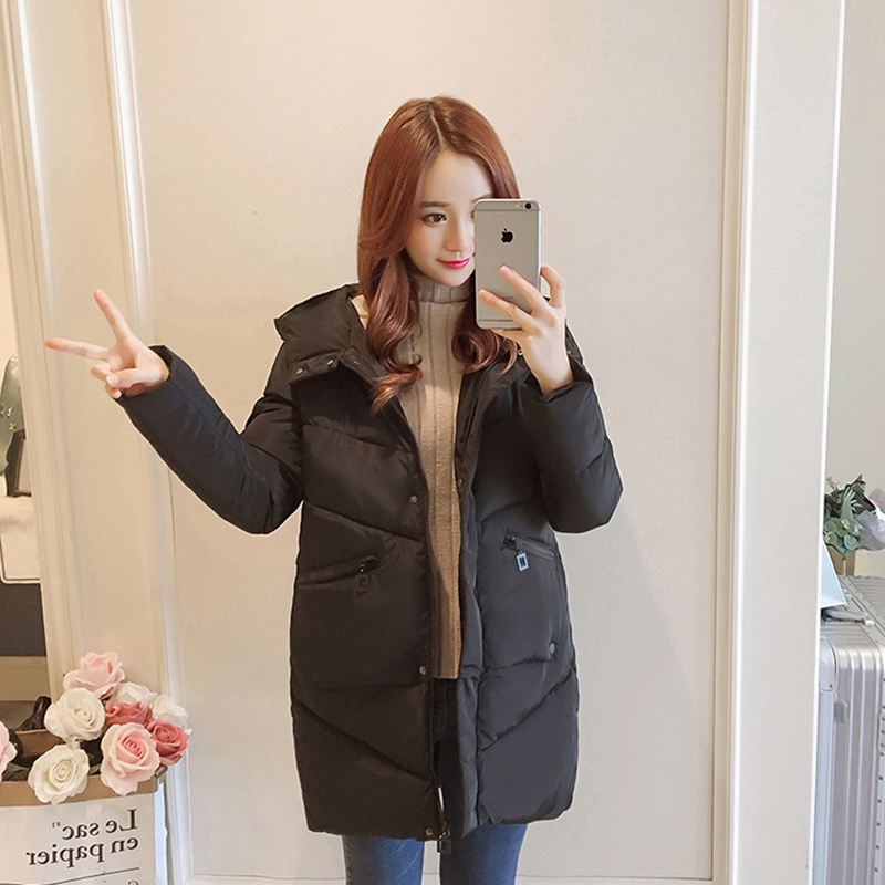 Image 5 - 47%OFF For Subscribers Winter Women jacket Casual Solid thick warm Long Hooded parkas Jackets female pocket sintepon snow coats-in Parkas from Women's Clothing