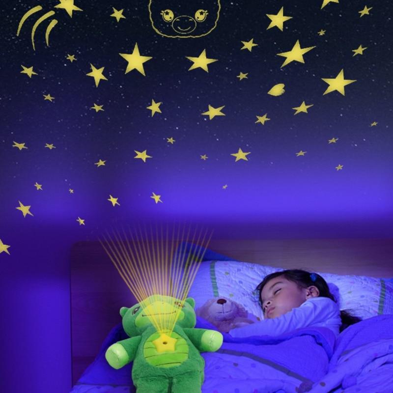 Звезда живота медведь плюшевые игрушки животных с ночной Светильник проектор в живот мягкие куклы-щенки утешительное светильник, детские ш...
