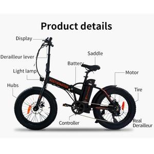 Image 5 - Aoستيرموتور دراجة كهربائية 500 واط 4.0 الدهون الإطارات كروزر شاطئ الداعم دراجة كهربائية 36 فولت بطارية ليثيوم للطي الرجال النساء ebike