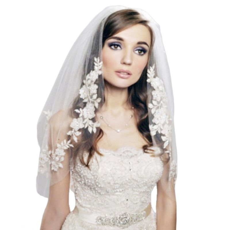 2 Tier Double Layer Womens Elbow Length Wedding Veil Silver Thread Faux Pearl Embroidered Floral Lace Trim Bridal Veil With Comb