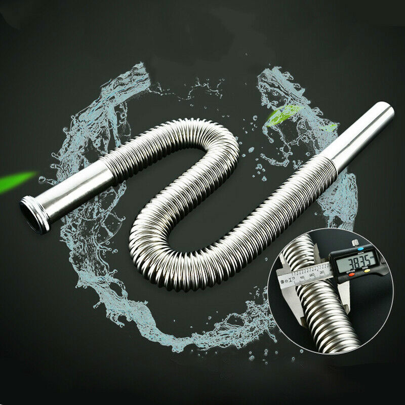 80cm Stainless Steel Siphon Flexible Hose Sink Drain Sinks Bathroom  Kitchen Basin Water Tube Pipe Set