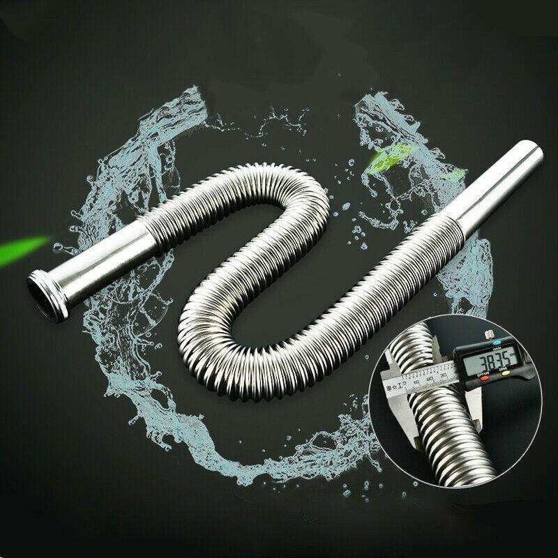 80cm Stainless Steel Siphon Flexible Hose Sink Drain Sinks Bathroom  Kitchen Basin Water Tube Pipe Set