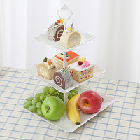 Europe 3 layers fruits plates nut fruits stand cake tray plastic cake stand decoration wedding cake toppers bride and groom
