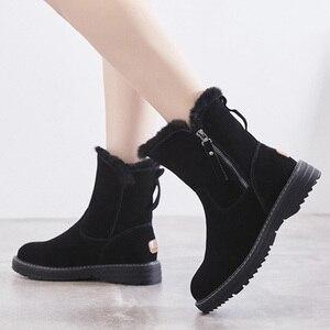 Image 3 - Chaussures dhiver en cuir véritable femmes bottes de neige chaussures chaudes hiver froid femme bottines femme hauteur augmentant 4.5cm YX1668