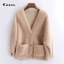 Jackets Overcoats Shearling Real-Fur Women Natural-Wool Winter Fashion Genuine Thick