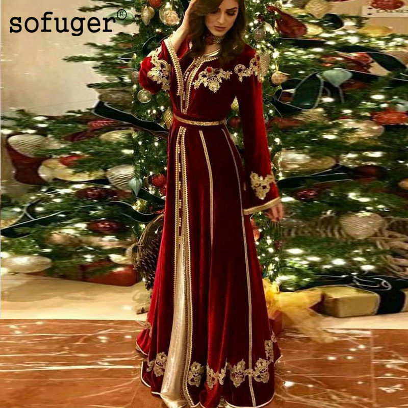 Burgundy Moroccan Kaftan Mother Of The Bride Dresses Appliques Evening Dress Vestido De Renda Groom Mother Formal Party Dress