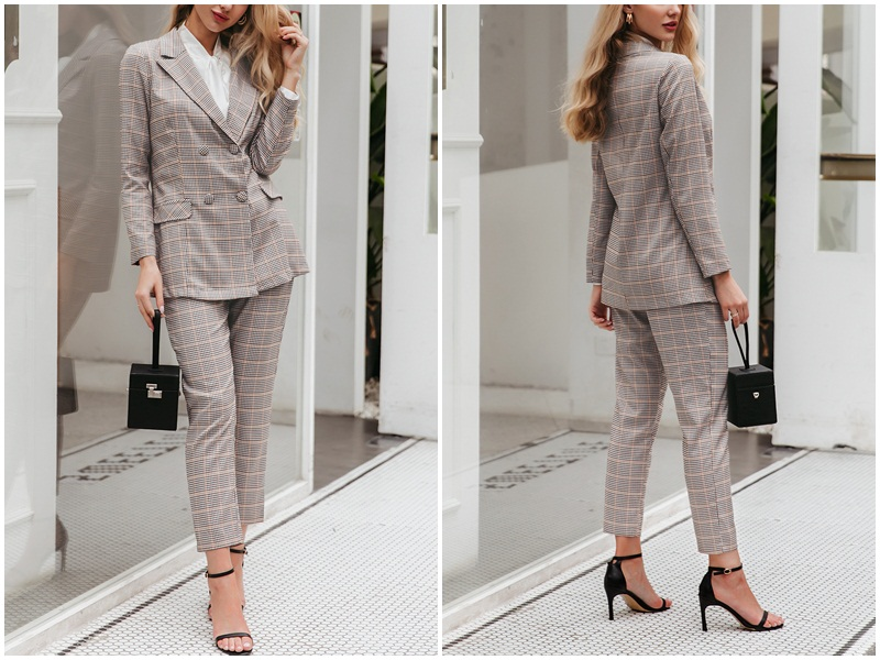 H2a1d61e3e858489eaa5df0698d44dce5h - BerryGo Womens business suit plaid pant suits female Office ladies double breasted ladies suits Spring two-piece blazer suit set