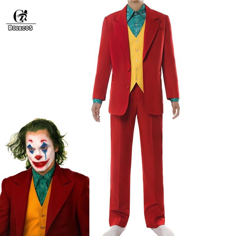 ROLECOS Joker Cosplay Costume Clown Halloween Costume Joker Men Movie Uniform Clown Business Suit