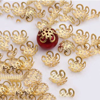 200Pcs 10mm Five Petals Flower Filigree Beads Caps for Jewelry Making Bracelet Necklace Diy End Spacer Accessories - discount item  13% OFF Jewelry Making