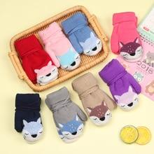 Лидер продаж, милые детские перчатки с рисунком лисы для детей от 0 до 3 лет зимние вязаные шерстяные варежки для новорожденных бархатные плотные детские теплые перчатки