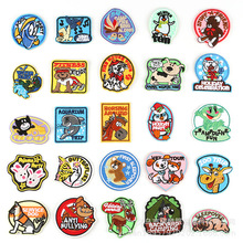 25pcs/lot Embroidery Iron on Patches Cloth Paste Cartoon Animal Dog Letter Clothing Accessories