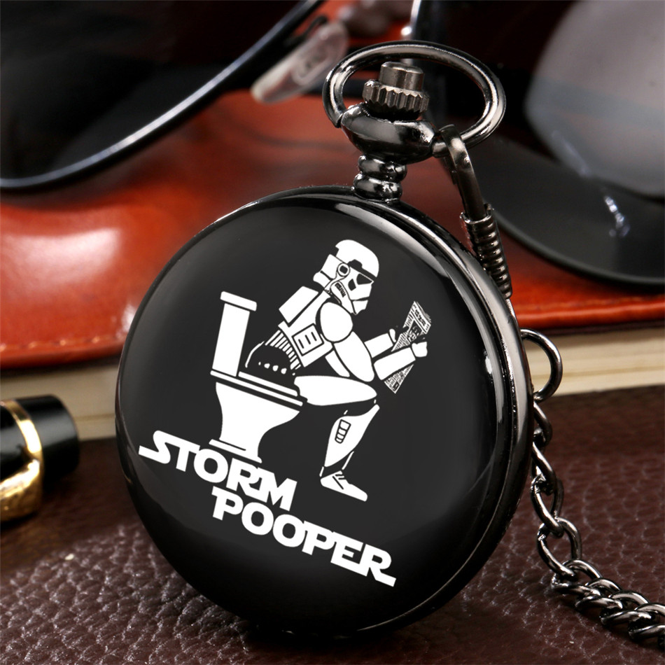 Storm Pooper Theme Retro Black Quartz Pocket Watch Arabic Numerals Display Round Dial Steampunk Pocket Chain Pendant Clock