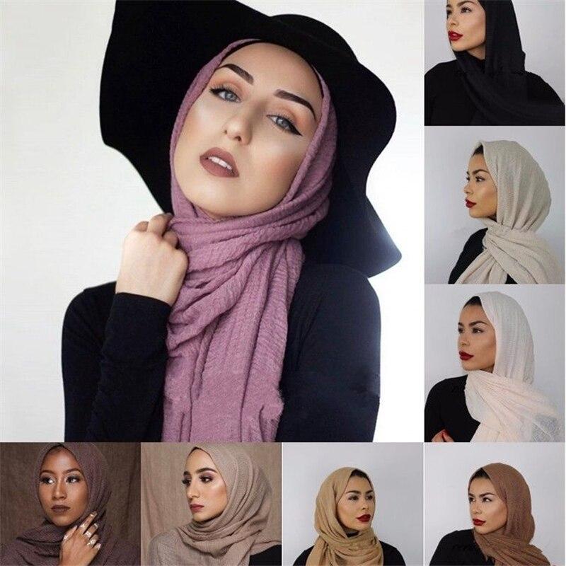 Women Muslim Crinkle Hijab Scarf Femme Musulman Cotton Headscarf Foulard Soie Islamic Long Shawls And Wraps