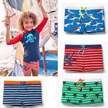 Цельные Летние плавки для мальчиков трусы-боксеры в полоску с акулой, Шорты для плавания, штаны Одежда для купания детские пляжные плавки шорты в полоску со звездами