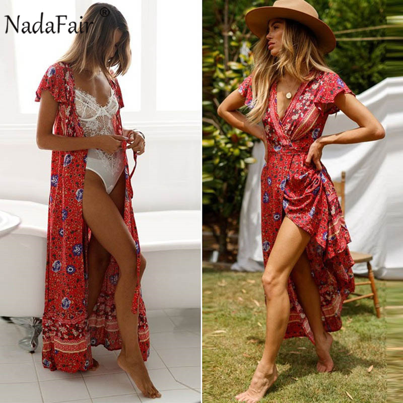 Nadafair Vintage Floral Maxi Dresses Elegant Beach Sash Sexy V Neck Split Print Tunic Long Summer Boho Dress Women Vestidos 1