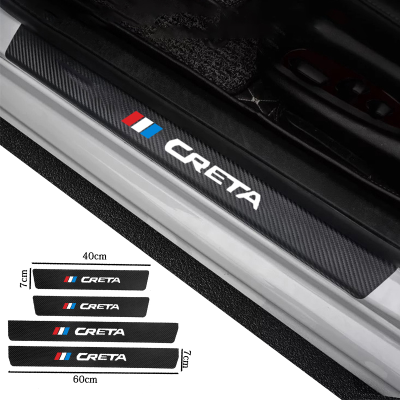 4pcs Car Door Threshold Plate Anti-Scratch Carbon Fiber Sticker Protector Vinyl Decals For Hyundai Creta Interior Accessories