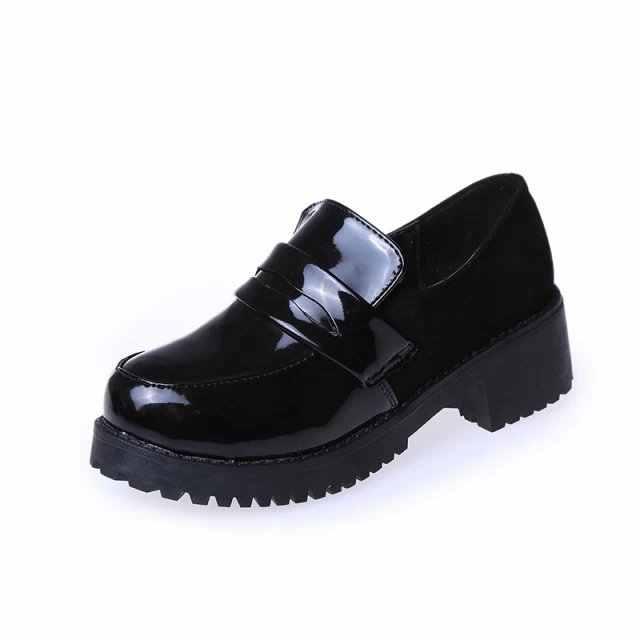 Japon lisesi öğrenci ayakkabı Girly kız Lolita ayakkabı cosplay ayakkabı JK üniforma PU deri mokasen rahat ayakkabılar