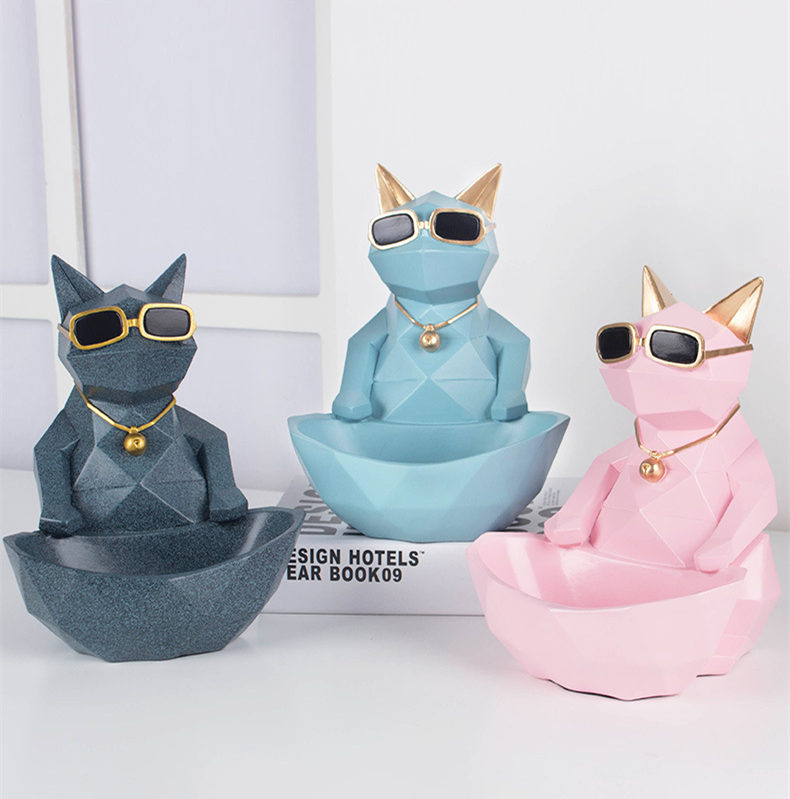 [Funny] European Ceramic Crafts cat storage box Candy box Home Decoration model Ornaments Creative cool cat figure best gift thumbnail