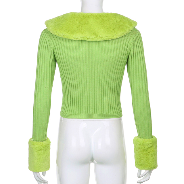 Ribbed Knitted Sweater with Fur on Collar for ladies