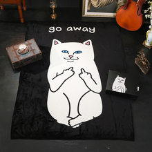 Fashion hip-hop cat blanket children nap blanket middle finger cat cover blanket flannel Farai coral air conditioning blanket