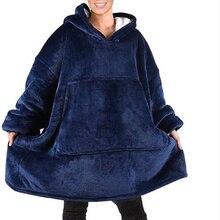 Sweatshirt Hoodie Tv Blanket Oversized Fleece Pullover Soft Winter Women Warm for Bathrobe