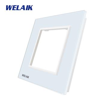 WELAIK EU przełącznik ścienny DIY-części-szklany Panel tylko-ściana światło-przełącznik kryształ-szkło-Panel kwadratowy otwór A18W1 tanie i dobre opinie CN (pochodzenie) 1Frame Square Hole ROHS Przełączniki 1 Year 1Frame Glass Panel Dotykowy włącznik wyłącznik EU Glass Panel