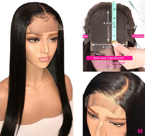 Image 5 - 360 Lace Frontal Wig Pre Plucked With Baby Hair Peruvian Straight Remy 13x4 Lace Front Human Hair Wigs 4x4 Lace Closure Wig