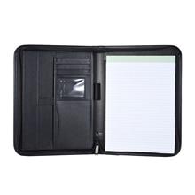 A4 PU Leather  office document folder Multifunctiona Business Portfolio Padfolio Folder Zippered Closure with Business Card