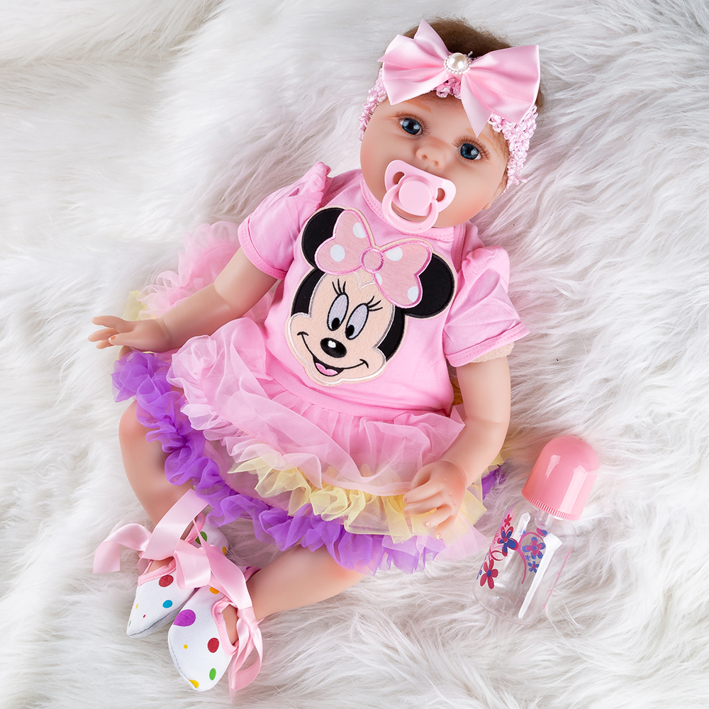 Cartoon Girls Silicone Dolls Baby Reborn Doll Girl Newborn Toys Christmas Gifts Toys 55cm Soft Dolls