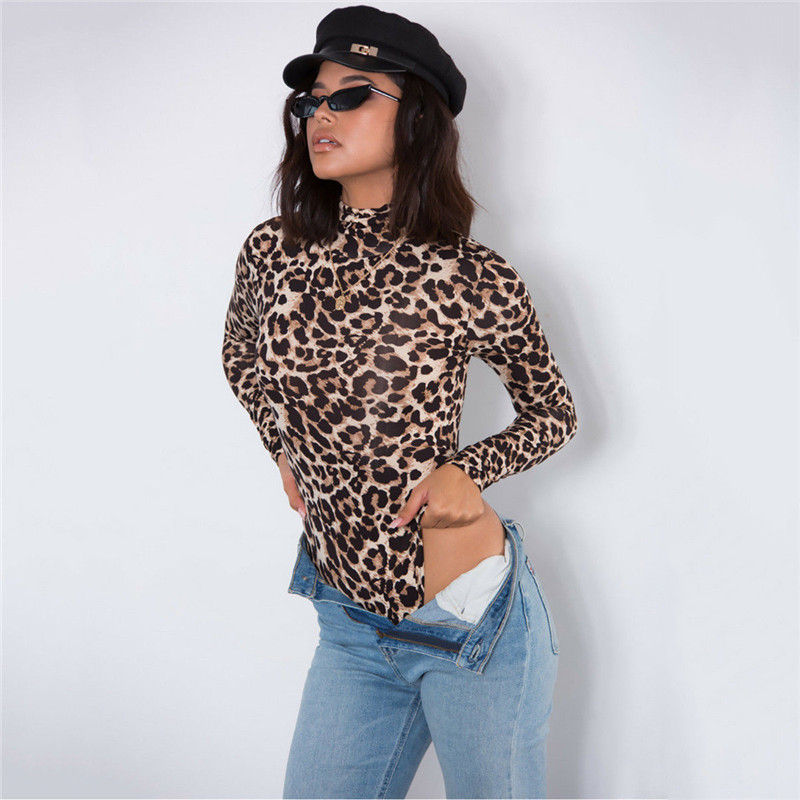 Women Leopard Long Sleeve High Neck bandagne Bodysuit Elegant Ladies Stretch Party Leotard fashion evening bodycon streetwear