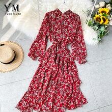 YuooMuoo Ins Модное Длинное платье с цветочным принтом Новое красное платье с асимметричным подолом с оборками элегантное шифоновое женское платье винтажное платье туника