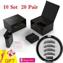 MB 10 Set 3 Magnetic Eyelashes False Mink Eyelashes 3D/6D  Natural Lengthening Makeup 20 Pair Magnets lashes Upper With Gift Box lengthening false eyelashes with glue