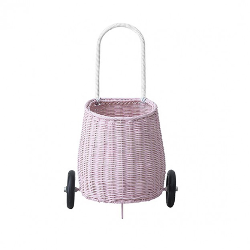 Handmade With Love Child's Luggy Basket Small Baby Trolley Children's Shopping Trolley(pink)
