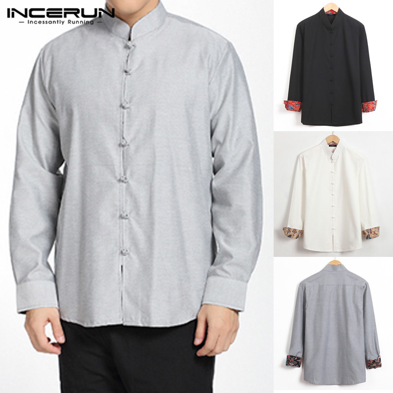 INCERUN Chinese Vintage Men Shirt Long Sleeve Stand Collar 2020 Button Camisa Blouse Solid Streetwear Tang Suit Casual Shirt Men