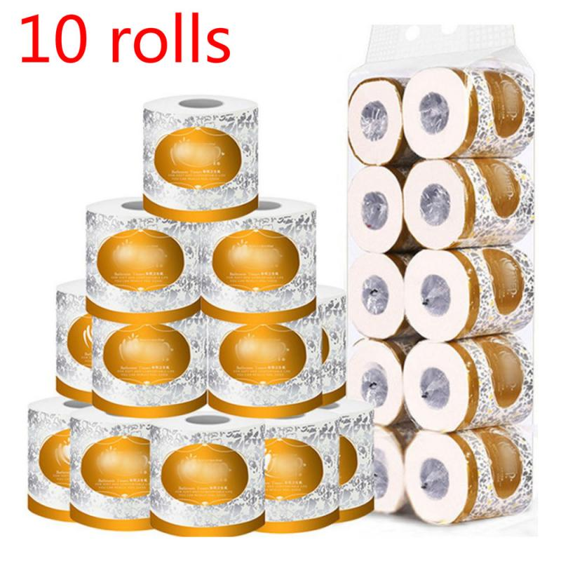 10 Rolls Wood Pulp Small Roll Paper Silky Smooth Soft Professional Series Premium 3Ply Toilet Paper Home Kitchen Toilet Tissue