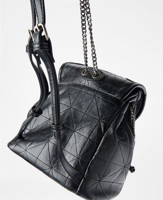 Women's Bag 2021 New Black Flip Soft Shoulder Bag Large Capacity Chain Bag Fashion Lingge Leather Backpack Women 5