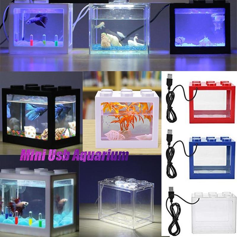 MeterMall Fish Tank 7 Colors Mini Aquarium Fishbowl with Light for Home Office Tea Table Decoration Feeding Box Fish Bowl