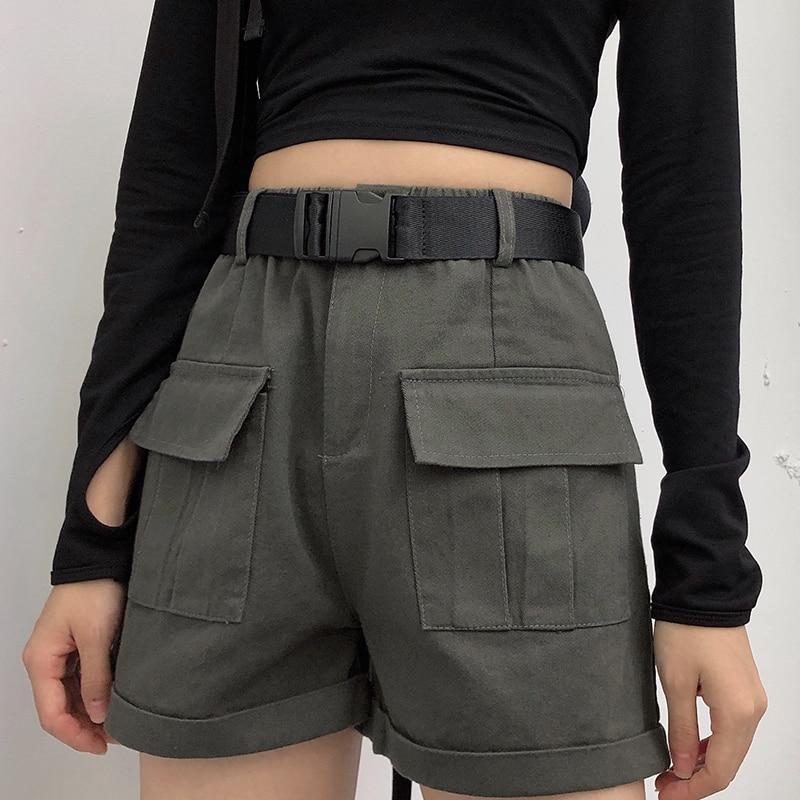 High Waist Cargo Shorts With Belt Solid Big Pockets Women Shorts Wide Leg Pants Loose Shorts 2020 Summer Shorts Female DK6062