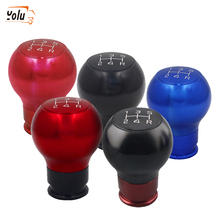 YOLU 5 Speed Red Aluminum Car Manual Shift Knob Shifter Round Ball Blue Black Gear Hand Cover Lever Knobs
