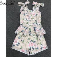 Svoryxiu 2020 New Runway Summer Casual Shorts Two Piece Set Women's Bow Spaghetti Strap Print Tops + Shorts Suits Female