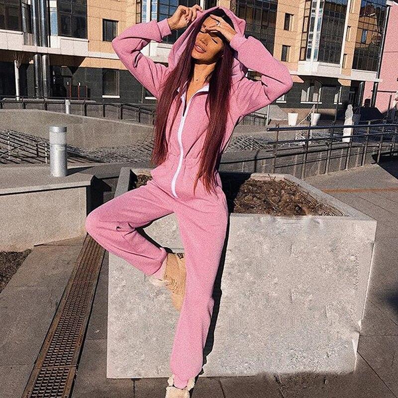 Ear Hoodies Long Sleeve Sweatshirt Jumpsuit Fall Winter Female Pink Black Kawaii Romper Casual Zipper Sweatpants Outwear Overall