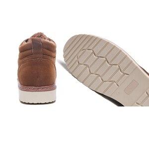 Image 5 - Hommes chaussures bottes dhiver hommes Nubuck cuir imperméable ajouter coton garder au chaud bois terre chaussures fond épais antidérapant Chelsea bottes