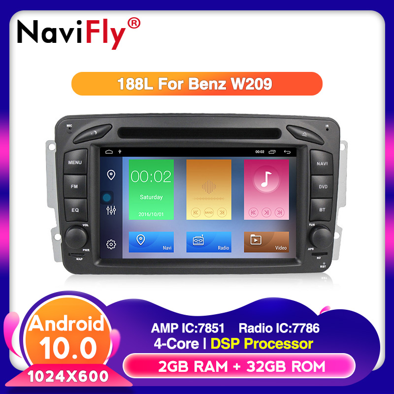 2din Android 10.0 HD screen 1024*600 car <font><b>Autoradio</b></font> for Benz/W209/W203/W168/M/ML/W163/Viano/W639/Vito/Vaneo with map gift image